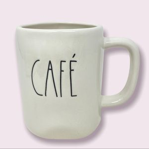 """RAE DUNN """"Cafe'""""Coffee Mug White with Black Letter"""
